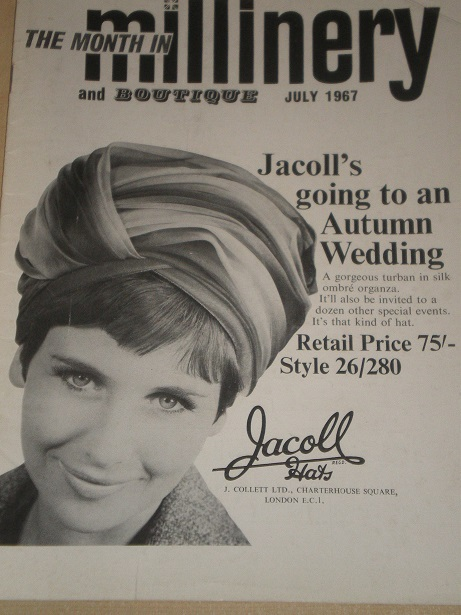 MILLINERY AND BOUTIQUE magazine, July 1967 issue for sale. HATS, FASHION. Original BRITISH publicati