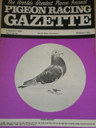 PIGEON RACING GAZETTE, February 1980 issue for sale. Original publication from Tilleys, Chesterfield