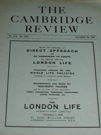 THE CAMBRIDGE REVIEW, October 29 1937 issue for sale.A JOURNAL OF UNIVERSITY LIFE AND THOUGHT. Birth