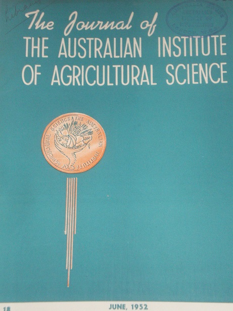 THE JOURNAL OF THE AUSTRALIAN INSTITUTE OF AGRICULTURAL SCIENCE, June 1952 issue for sale. Original