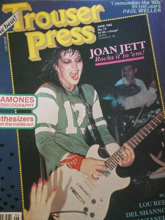TROUSER PRESS magazine, June 1982 issue for sale. RAMONES, JOAN JETT, LOU REED. Original MUSIC publi