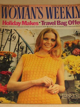 WOMANS WEEKLY magazine, 3 July 1971 issue for sale. KNITTING, FICTION, COOKERY, FASHION, HOME. Vinta