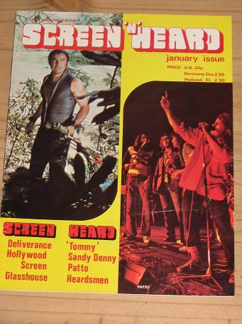 SCREEN N HEARD MAGAZINE JANUARY ISSUE FOR SALE VINTAGE 1970S MOVIE MUSIC PUBLICATION PURE NOSTALGIA