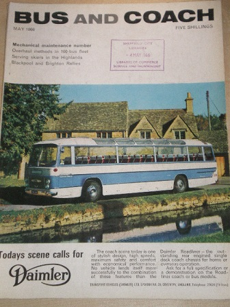 BUS AND COACH magazine, May 1966 issue for sale. Original British publication from Tilley, Chesterfi
