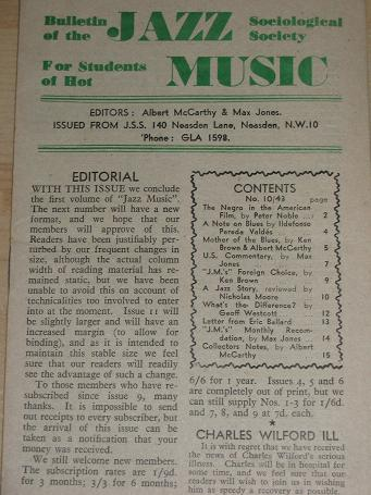 JAZZ MUSIC bulletin, Number 10 / 43 for sale. 1943 JAZZ SOCIOLOGICAL SOCIETY publication. Scarce pub