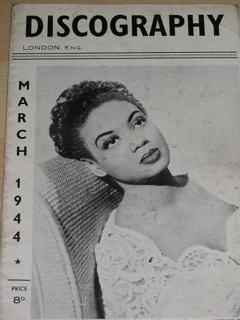 DISCOGRAPHY magazine, March 1944 issue for sale. HAZEL SCOTT. Scarce publications, birthday, retirem