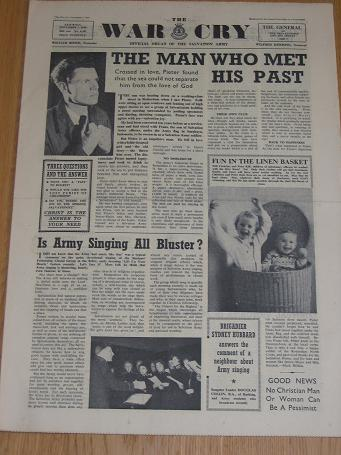 WAR CRY November 7 1959, Salvation Army newspaper for sale. Vintage religious publication. The past