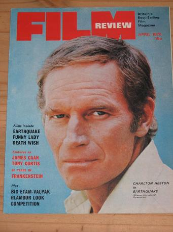 FILM REVIEW MAGAZINE APRIL 1975 BACK ISSUE FOR SALE CHARLTON HESTON VINTAGE MOVIE PUBLICATION PURE N