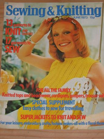 SEWING AND KNITTING MAGAZINE JUNE 1973 BACK ISSUE FOR SALE VINTAGE WOMENS CRAFTS DRESSMAKING FASHION
