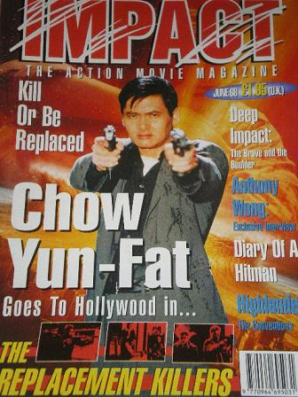 IMPACT magazine, June 1998 issue for sale. CHOW YUN-FAT. Original British ACTION MOVIE publication f