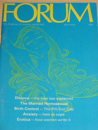 FORUM magazine, Volume 4 Number 6 issue for sale. 1971 ADULT, SEXUAL RELATIONS publication. Classic