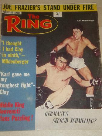 THE RING, August - September 1967 issue for sale. MILDENBERGER. Original British SPORT, BOXING publi