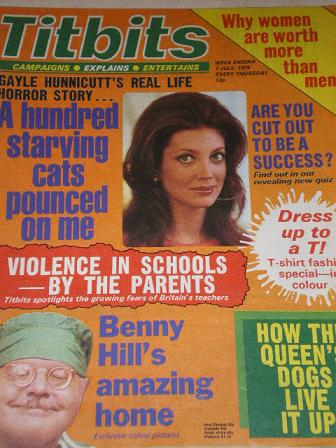 TITBITS magazine, 7 July 1979 issue for sale. GAYLE HUNNICUTT, BENNY HILL. Original British publicat