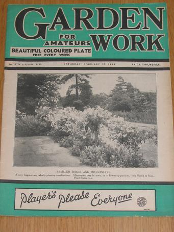 GARDEN WORK magazine Feb. 25 1939. Vintage horticultural publication for sale. Classic images of the