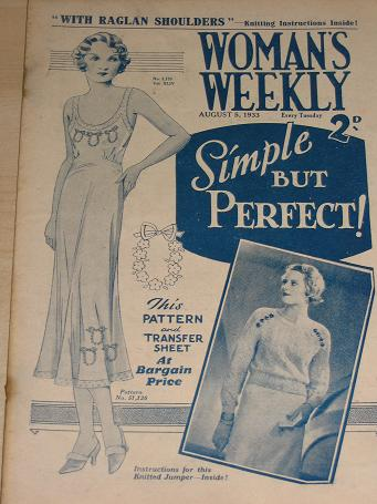 WOMANS WEEKLY magazine, August 5 1933 issue for sale. Birthday gifts from Tilleys, Chesterfield, Der