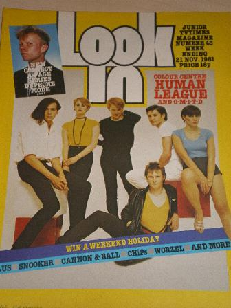 LOOK-IN magazine, 21 November 1981 issue for sale. HUMAN LEAGUE. Original gifts from Tilleys, Cheste