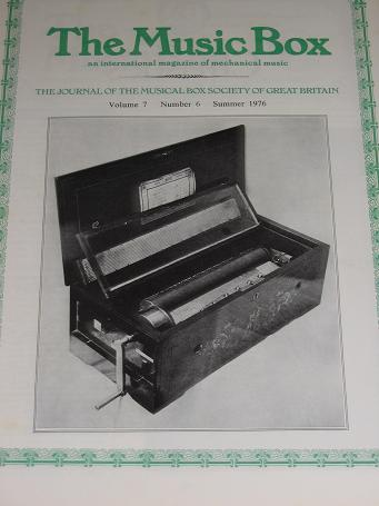 The MUSIC BOX magazine, Volume 7 Number 6 issue for sale, Summer 1976. Vintage MECHANICAL MUSIC INST
