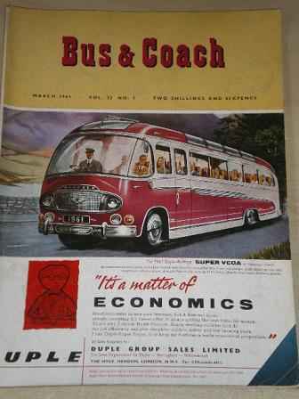 BUS AND COACH magazine, March 1961 issue for sale. Original British publication from Tilley, Chester