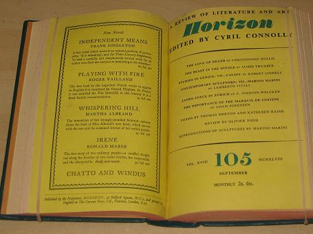 HORIZON magazine, Volume 18, July, August, September, October, November, December 1948 issues for sa