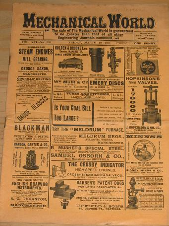 MECHANICAL WORLD MAGAZINE MARCH 19 1897 ISSUE FOR SALE ORIGINAL ANTIQUE VICTORIAN ENGINEERING PUBLIC