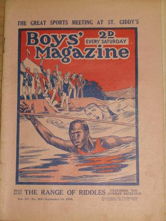 NUMBER 393 BOYS MAGAZINE SEPTEMBER 14 1929 ISSUE ANTIQUE BOYS ADVENTURE STORY PUBLICATION FOR SALE