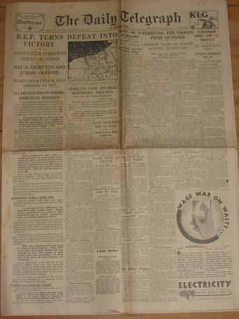 WW2 DAILY TELEGRAPH NEWSPAPER JUNE 1 1940 ORIGINAL FOR SALE CLASSIC IMAGES OF THE TWENTIETH CENTURY