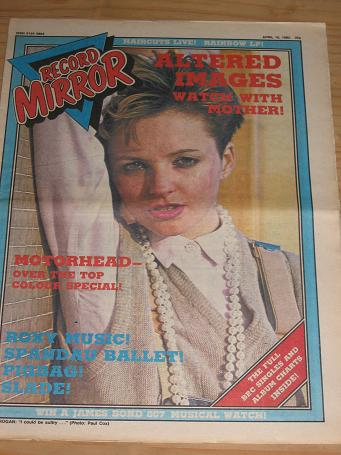 ALTERED IMAGES MOTORHEAD 1982 RECORD MIRROR POP PAPER FOR SALE APRIL 10 PURE NOSTALGIA ARCHIVES CLAS