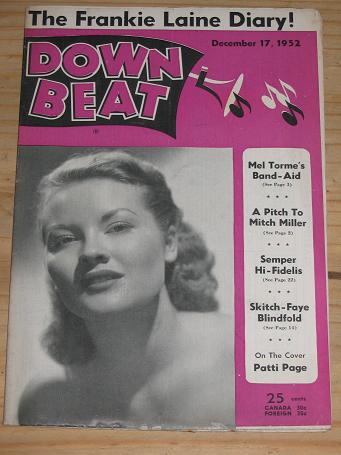 PATTI PAGE 1952 DOWN BEAT MAGAZINE DECEMBER 17 FOR SALE VINTAGE MUSIC PUBLICATION PURE NOSTALGIA ARC