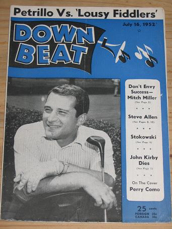 PERRY COMO 1952 DOWN BEAT MAGAZINE JULY 16 FOR SALE VINTAGE MUSIC PUBLICATION PURE NOSTALGIA ARCHIVE