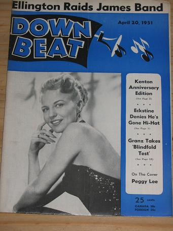 PEGGY LEE 1951 DOWN BEAT MAGAZINE APRIL 20 FOR SALE VINTAGE MUSIC PUBLICATION PURE NOSTALGIA ARCHIVE