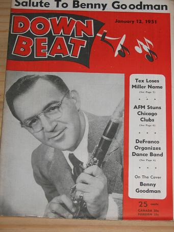 BENNY GOODMAN 1951 DOWN BEAT MAGAZINE JANUARY 12 FOR SALE VINTAGE MUSIC PUBLICATION PURE NOSTALGIA A