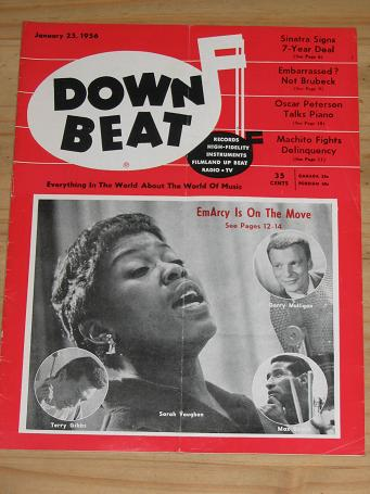 SARAH VAUGHAN 1956 DOWN BEAT MAGAZINE JANUARY 25 FOR SALE VINTAGE MUSIC PUBLICATION PURE NOSTALGIA A