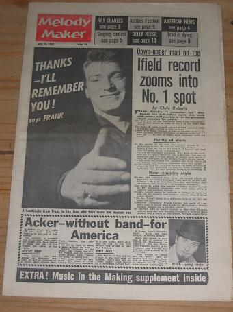 FRANK IFIELD MELODY MAKER 1962 JULY 28 ISSUE FOR SALE VINTAGE POP JAZZ MUSIC PAPER PURE NOSTALGIA AR