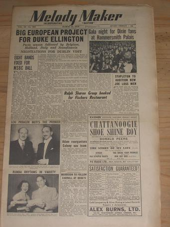 MELODY MAKER MARCH 11 1950 ISSUE FOR SALE VINTAGE POP JAZZ MUSIC PAPER PURE NOSTALGIA ARCHIVES CLASS