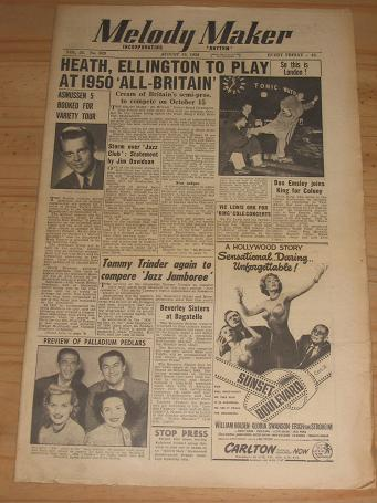 MELODY MAKER AUGUST 19 1950 ISSUE FOR SALE VINTAGE POP JAZZ MUSIC PAPER PURE NOSTALGIA ARCHIVES CLAS