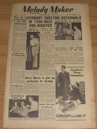 MELODY MAKER AUGUST 12 1950 ISSUE FOR SALE VINTAGE POP JAZZ MUSIC PAPER PURE NOSTALGIA ARCHIVES CLAS