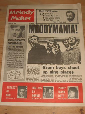 MELODY MAKER JANUARY 16 1965 ISSUE PROBY MOODY BLUES FOR SALE VINTAGE POP JAZZ BEAT MUSIC PAPER PURE