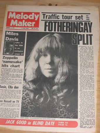 MELODY MAKER JANUARY 9 1971 ISSUE DENNY FOR SALE VINTAGE POP JAZZ BEAT MUSIC PAPER PURE NOSTALGIA AR