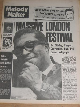 MELODY MAKER MARCH 28 1970 ISSUE BO DIDDLEY FOR SALE VINTAGE POP JAZZ BEAT MUSIC PAPER PURE NOSTALGI