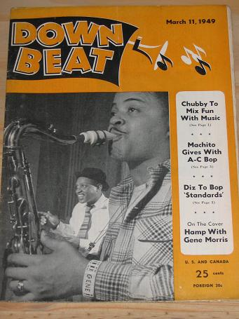 DOWN BEAT MAGAZINE MARCH 11 1949 LIONEL HAMPTON GENE MORRIS BACK ISSUE FOR SALE VINTAGE JAZZ POPULAR