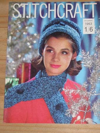 STITCHCRAFT MAGAZINE DECEMBER 1963 ISSUE FOR SALE VINTAGE FASHION KNITTING EMBROIDERY DRESSMAKING RU