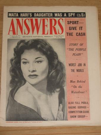 ANSWERS MAG OCT 23 1954 ADRIENNE CORRI VINTAGE PUBLICATION FOR SALE CLASSIC IMAGES OF THE 20TH CENTU