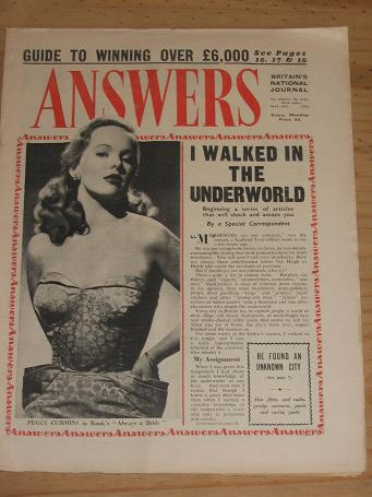 ANSWERS MAG MAY 16 1953 PEGGY CUMMINS VINTAGE MAGAZINE FOR SALE CLASSIC IMAGES OF THE 20TH CENTURY P