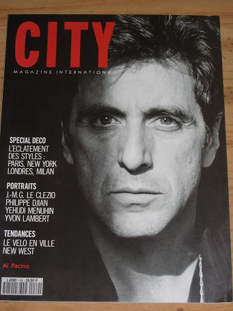 CITY MAG INTERNATIONAL APRIL 1991 AL PACINO MENUHIN VINTAGE LIFESTYLE PUBLICATION FOR SALE PURE NOST