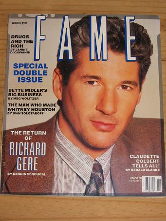 FAME MAG WINTER 1990 RICHARD GERE VINTAGE PUBLICATION FOR SALE PURE NOSTALGIA ARCHIVES CLASSIC IMAGE