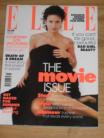 ELLE MAG MAY 1997 COURTENEY COX ROTH BARRYMORE CRUISE DEPP FIRTH VINTAGE FASHION PUBLICATION FOR SAL