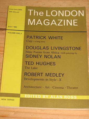 LONDON MAG JULY 1963 TED HUGHES NOLAN LIVINGSTONE VINTAGE LITERARY PUBLICATION FOR SALE PURE NOSTAL