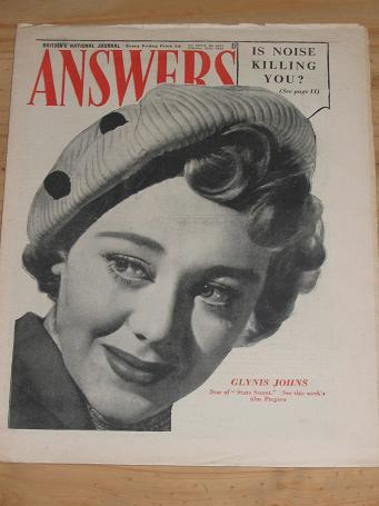 ANSWERS MAG FEB 25 1950 GLYNIS JOHNS VINTAGE PUBLICATION FOR SALE CLASSIC IMAGES OF THE 20TH CENTURY