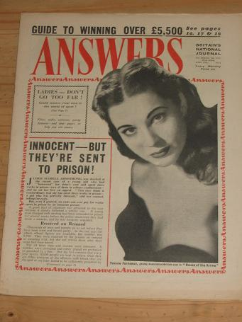 ANSWERS MAG JUNE 27 1953 YVONNE FURNEAUX VINTAGE PUBLICATION FOR SALE CLASSIC IMAGES OF THE 20TH CEN