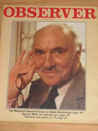 RALPH RICHARDSON OBSERVER MAG 18 DEC 1977 VINTAGE PUBLICATION FOR SALE CLASSIC IMAGES OF THE 20TH CE